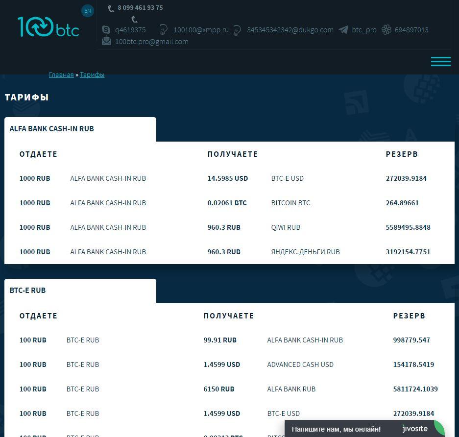 Тарифы обмена электронных валют 100btc.pro