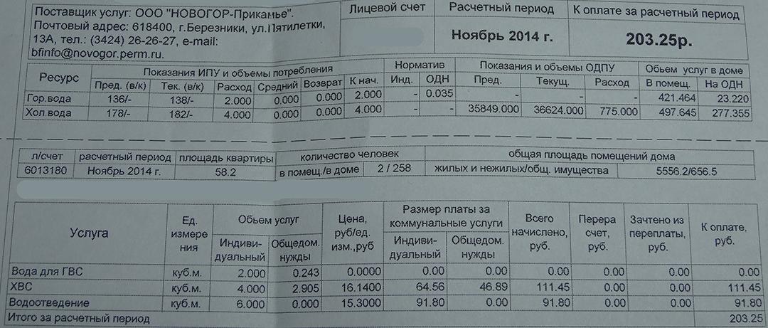 ООО «Новогор-Прикамье» поменяло порядок начисления платы за воду